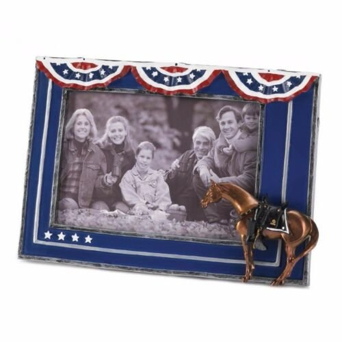 Image 1 of Fallen Heroes Patriotic Horse Photo Frame Holds 4 x 6 Photo