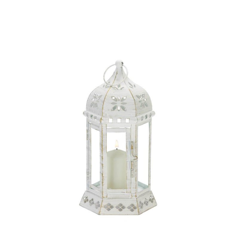 Image 0 of Small Distressed White Floral Chic Cutouts Candle Lantern Use Indoor /Outdoor
