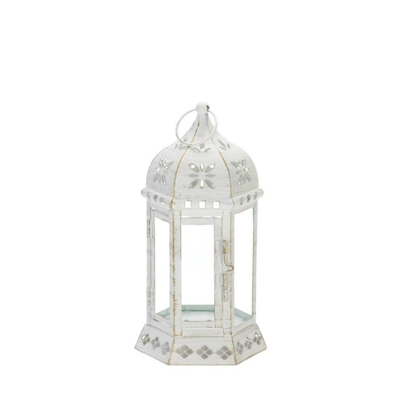 Image 1 of Small Distressed White Floral Chic Cutouts Candle Lantern Use Indoor /Outdoor