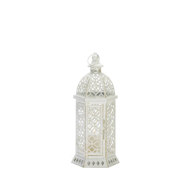 Image 0 of Small White Hexagon Shape w/ Intricate Cutouts Candle Lantern Indoor /Outdoor