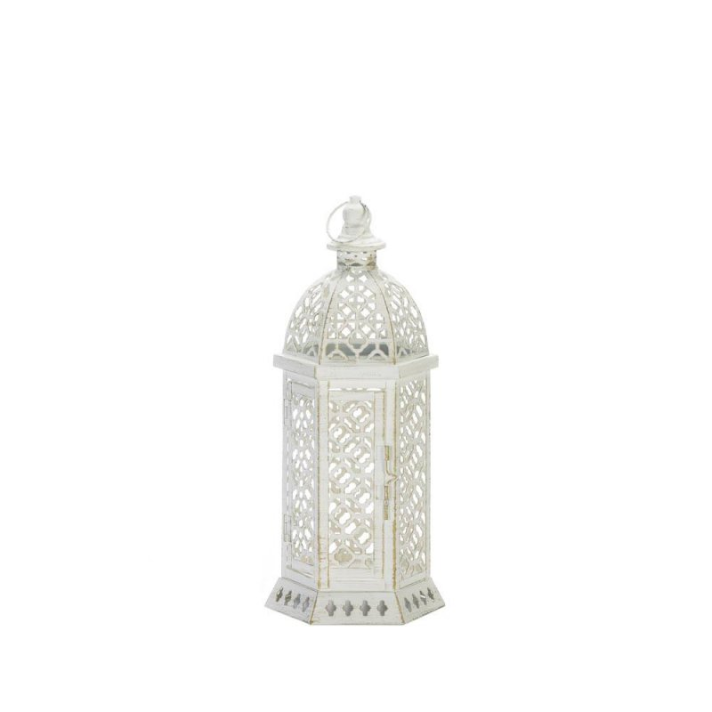 Image 1 of Small White Hexagon Shape w/ Intricate Cutouts Candle Lantern Indoor /Outdoor