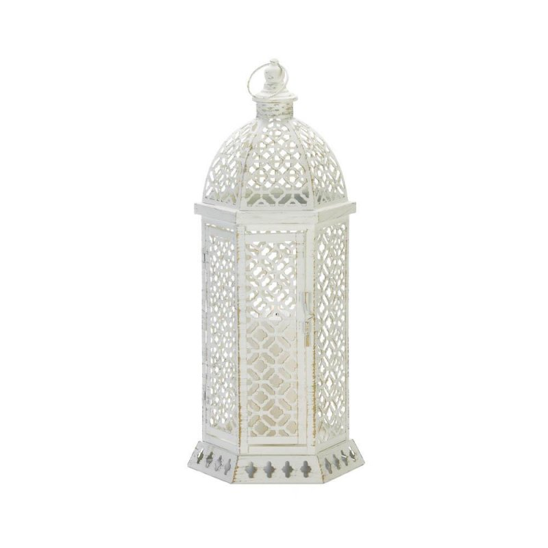 Image 0 of Large White Hexagon Shape w/ Intricate Cutouts Candle Lantern Indoor /Outdoor