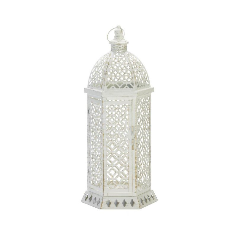 Image 1 of Large White Hexagon Shape w/ Intricate Cutouts Candle Lantern Indoor /Outdoor