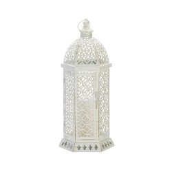 Small White Hexagon Shape w/ Intricate Cutouts Candle Lantern Indoor /Outdoor