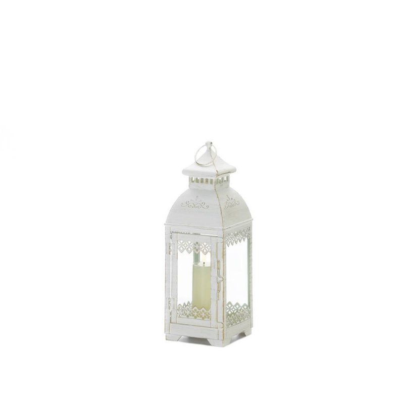 Image 0 of Antiqued White Lace Victorian Style Candle Lantern Indoor /Outdoor