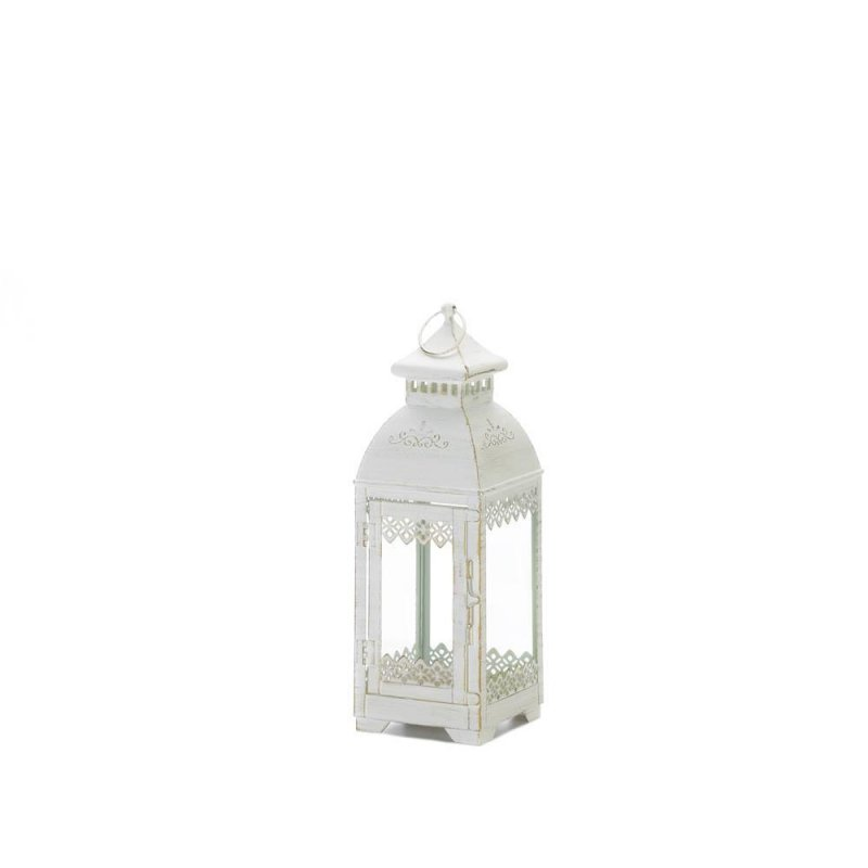 Image 1 of Antiqued White Lace Victorian Style Candle Lantern Indoor /Outdoor