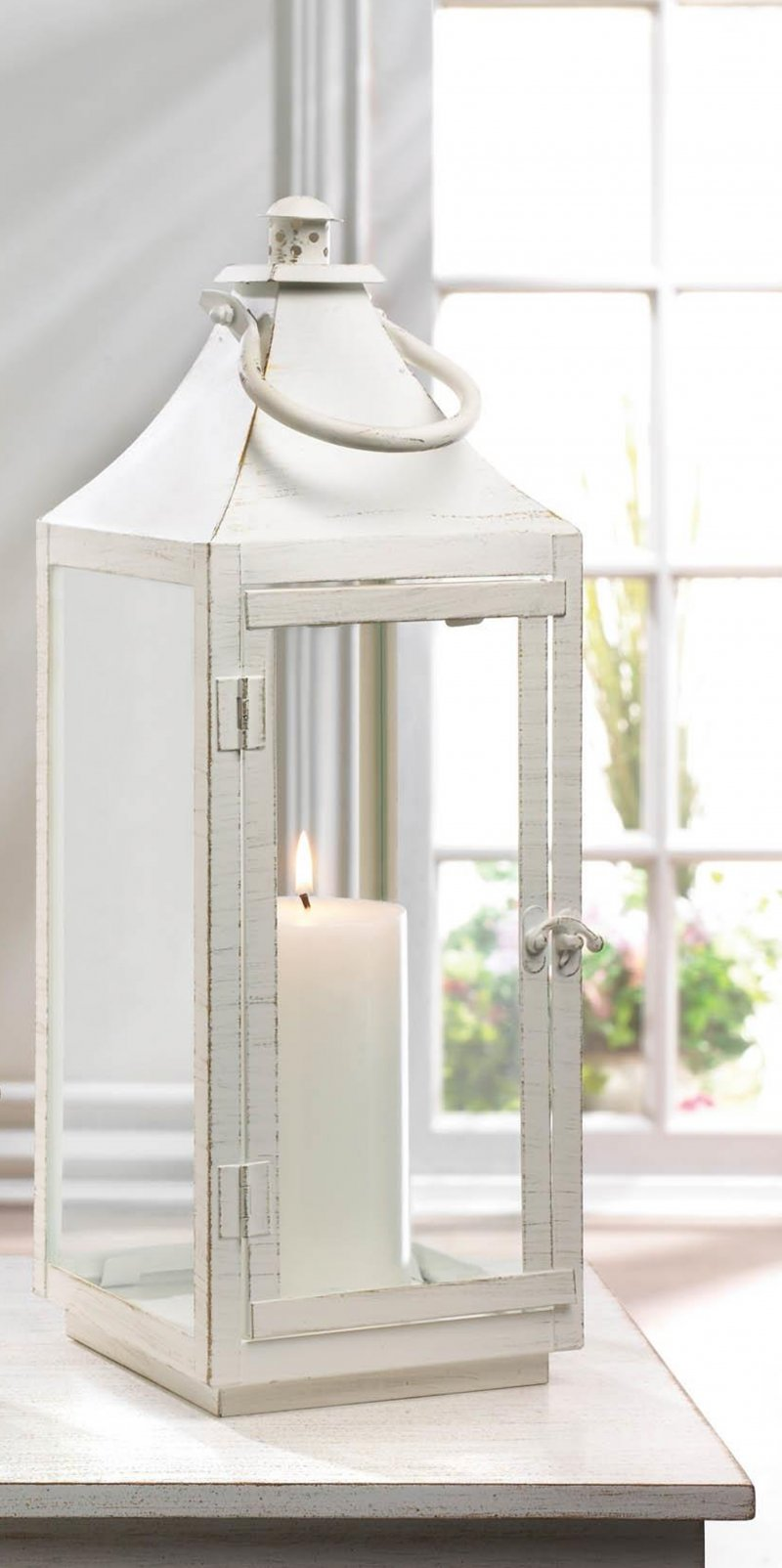 Image 0 of Large Sleek Simply White Traditional Candle Lantern Indoor /Outdoor