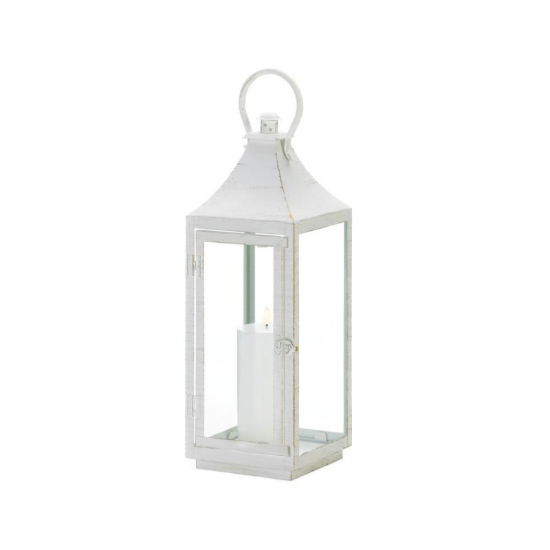 Image 1 of Large Sleek Simply White Traditional Candle Lantern Indoor /Outdoor