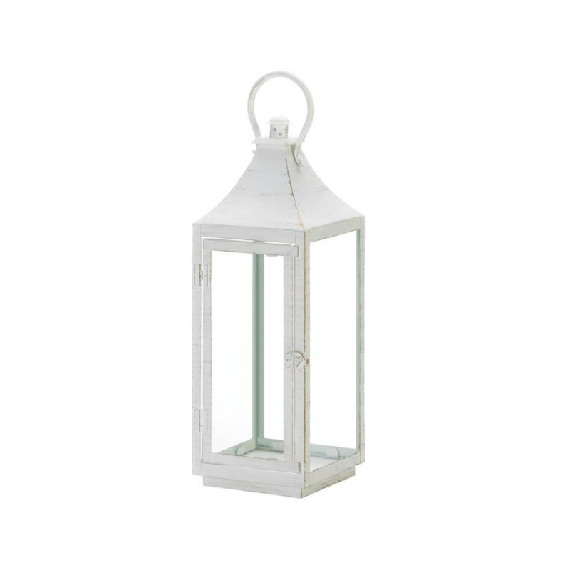 Image 2 of Large Sleek Simply White Traditional Candle Lantern Indoor /Outdoor