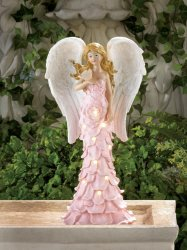 Solar Powered LED Light Garden Angel in Pink Rose Dress Holding Bird Figurine
