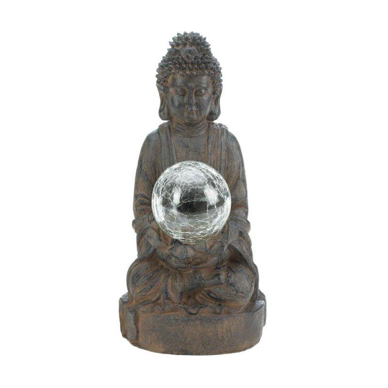 Image 0 of Zen Buddha Garden Statue Holding Solar LED Light Glass Ball Figurine