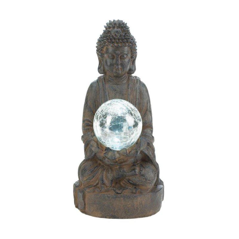 Image 1 of Zen Buddha Garden Statue Holding Solar LED Light Glass Ball Figurine