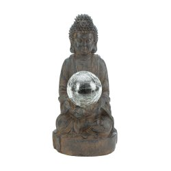Zen Buddha Garden Statue Holding Solar LED Light Glass Ball Figurine