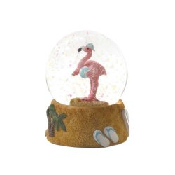 Tropical Pink Flamingo w/ Beach Ball Flip Flops on Base Mini Snow Globe