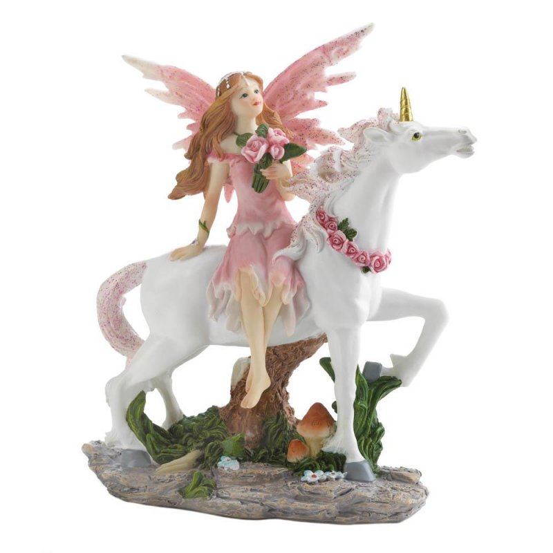 Image 1 of Pink Dressed Fairy Sitting on White Unicorn w/ Pink Rose Wreath on Neck Figurine
