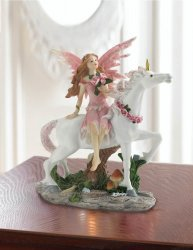 Pink Dressed Fairy Sitting on White Unicorn w/ Pink Rose Wreath on Neck Figurine