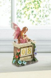 Pink Dressed Fairy Sitting on Shelf Block Calendar Figurine