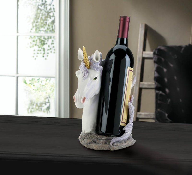 Image 0 of White Unicorn with Lavender  Mane Wrapped Around Wine Bottle Holder