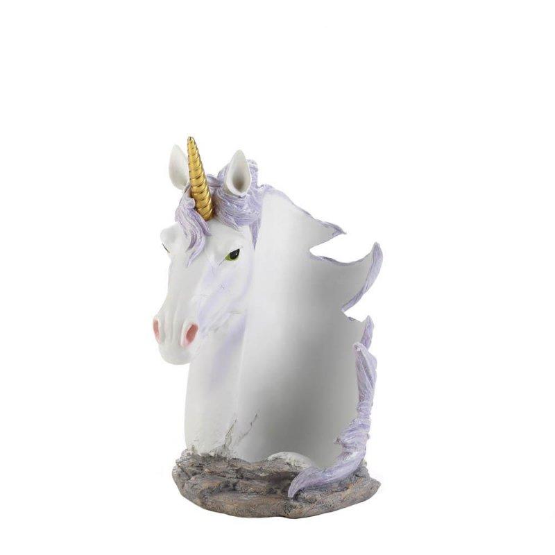 Image 1 of White Unicorn with Lavender  Mane Wrapped Around Wine Bottle Holder