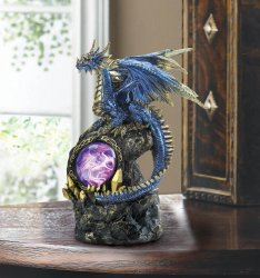 Blue Dragon with Golden Accents on Rocks LED Light Up Medallion Figurine