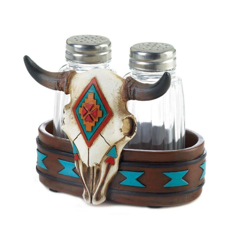 Image 0 of Salt & Pepper Shakers in Southwestern Faux Bison Skull Holder