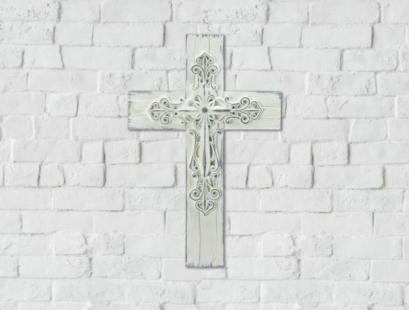 Image 0 of Farmhouse Style 3-D Whitewashed Wall Cross Intricate Scrollwork in Center