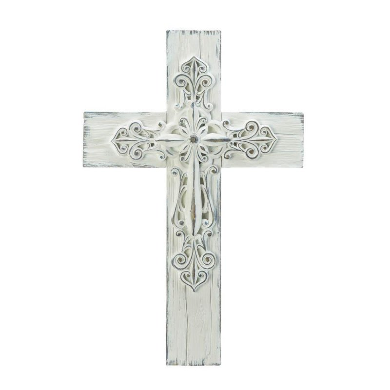 Image 1 of Farmhouse Style 3-D Whitewashed Wall Cross Intricate Scrollwork in Center