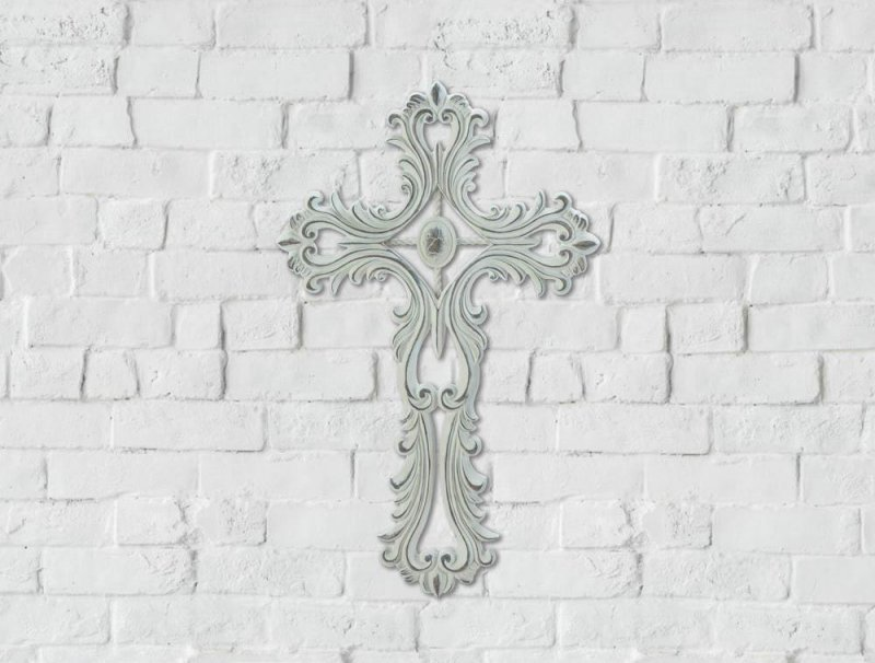 Image 0 of Open Scalloped White Wall Cross