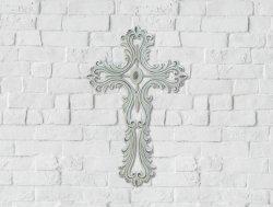 Open Scalloped White Wall Cross