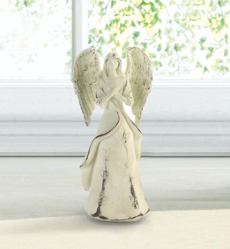 Image 0 of Never Give Up Hope French Country Distressed Ivory Angel Figurine