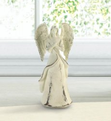 Never Give Up Hope French Country Distressed Ivory Angel Figurine