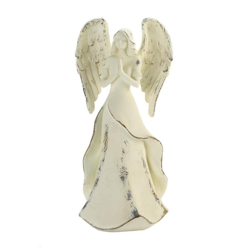 Image 1 of Strength in Prayer French Country Distressed Ivory Angel Figurine