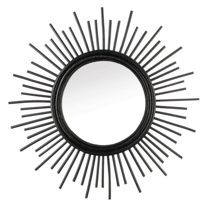Image 0 of Modern Black Rattan Framed Round Wall Mirror