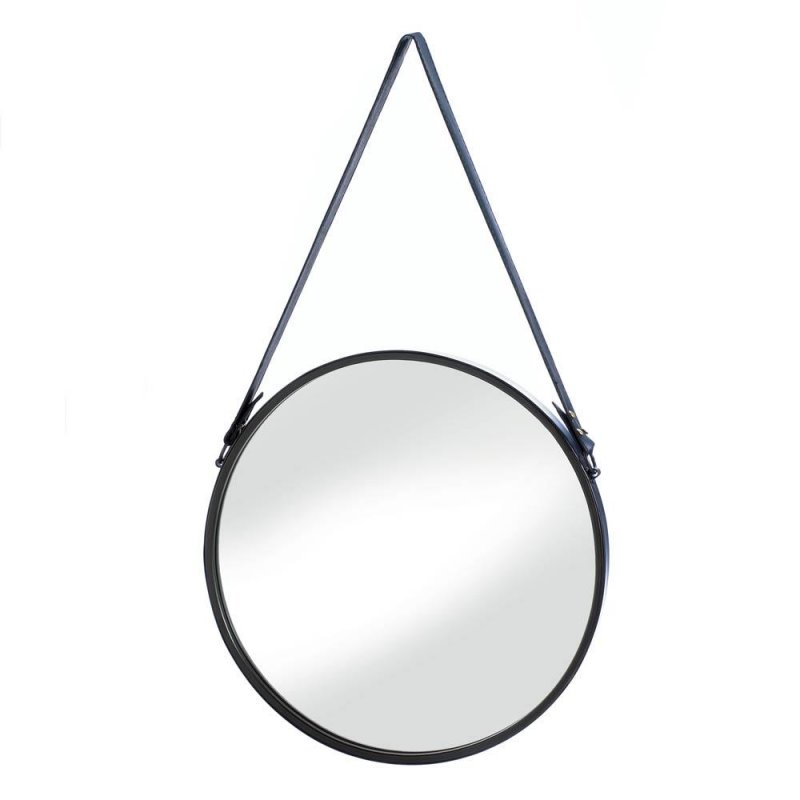 Image 0 of Vintage Style Hanging Wall Mirror with Faux Leather Strap