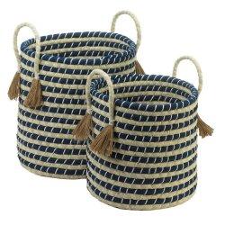 Set of 2 Navy & Beige Braided Storage Baskets w/ Tassels Kids Room, Living Room