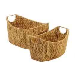 Set of 2 Natural Water Hyacinth Oblong Storage Nesting Baskets w/ Handles
