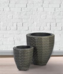 2 Round Monterey Polyrattan Wicker Indoor/Outdoor Planter Removable inner Liner