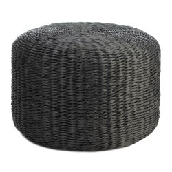 All Weather Charcoal Gray Polyrattan Wicker Ottoman Use Indoors/Outdoors