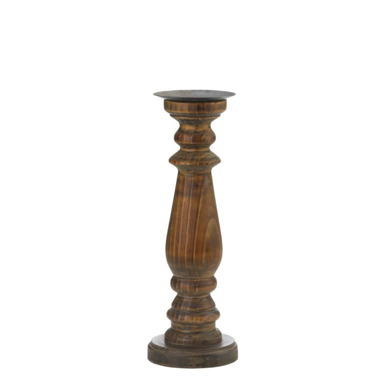Image 0 of Tall Wooden Rustic Antique Style Pillar Candle Holders