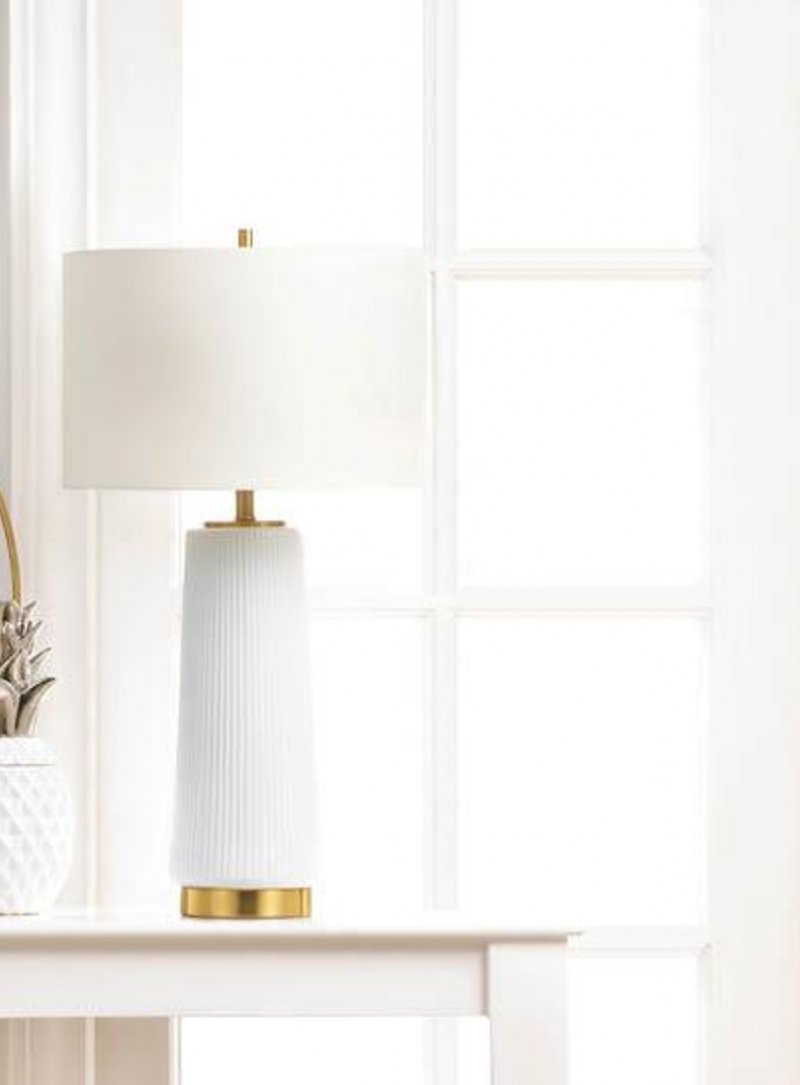 Image 0 of Contemporary White Ceramic Table Lamp w/ Line Detailing & Gold Base