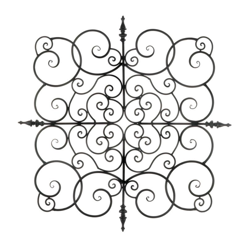 Image 0 of Contemporary Large Square Iron Spiral Scrollwork Plaque Wall Decor 27