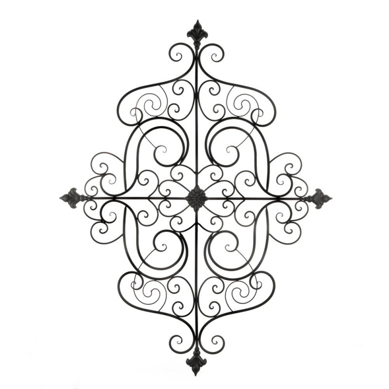 Image 0 of Mediterranean Style Iron Scrollwork Plaque Wall Decor w/ Fleur De Lis Accents