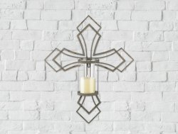 Contemporary Iron Cross Wall Sconce with Hurricane Glass Pillar Candle Holder