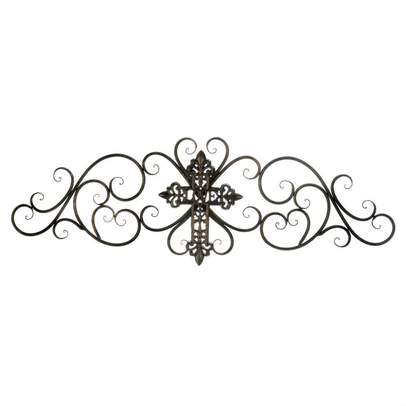 Image 0 of Modern Design Iron Scrollwork Plaque Wall Decor w/ Cross in Center