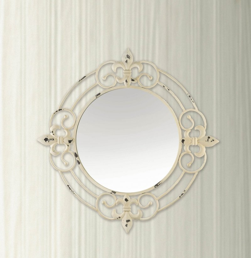Image 0 of Antiqued White Iron Scrollwork w/ Fleur De Lis Accents Frame Wall Mirror