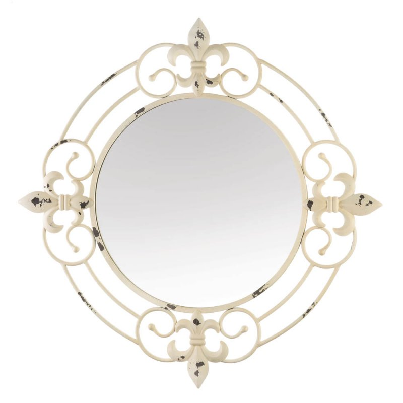 Image 1 of Antiqued White Iron Scrollwork w/ Fleur De Lis Accents Frame Wall Mirror