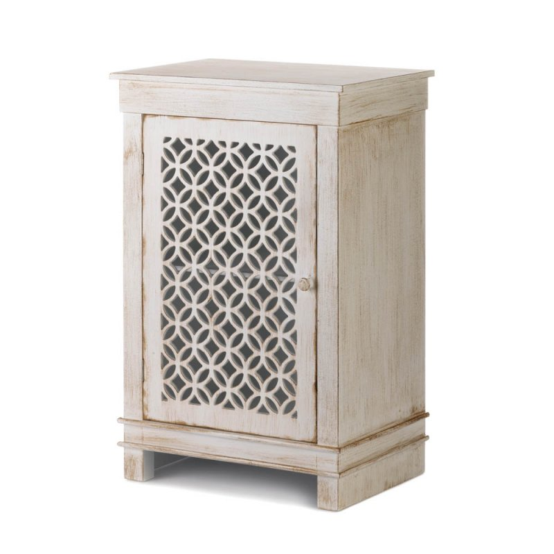 Image 0 of Antique White Distressed Cabinet Night Stand, End Table Geometric Overlay Door