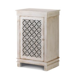 Antique White Distressed Cabinet Night Stand, End Table Geometric Overlay Door