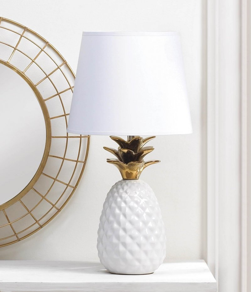 Image 0 of White Porcelain Pineapple Table Lamp w/ Gold Spiked Leaves Shade Included
