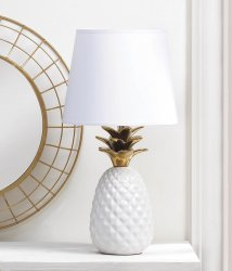 White Porcelain Pineapple Table Lamp w/ Gold Spiked Leaves Shade Included